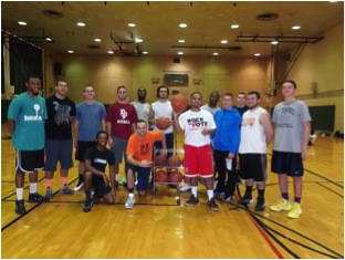 Students who participated in the 3-point shooting contest held by Campus Recreation on Friday for Family and Friends Weekend pose for a photo.  (Photo provided by Campus Recreation)