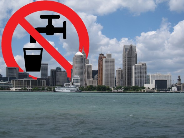 The city of Detroit  shut off water for  thousands of customers who cannot afford to pay the water bill.  (Detroit photo by Bernt Rostad, Image by Open icons)