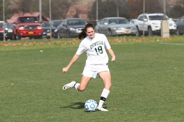 Freshman Sarah Grupp was awarded SUNYAC Player of Week in her soccer season and scored four goals.  (Photo provided by Sports Information)