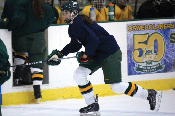 Grupp now brings much needed size at her 5-feet-10 inch frame to the women's ice hockey team.  (David Armelino | The Oswegonian)