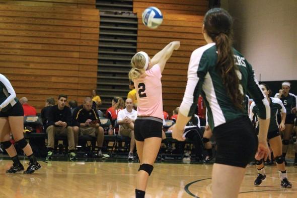 Junior Rachel Ruggaber has improved her court awareness in 2014, making her team better.  (David Armelino | The Oswegonian)