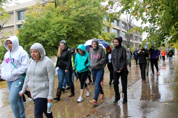 113 people braved the rain and cold to take part in the United Way Walk-A-Thon put on by VEGA.  (Claire Chiarelli  | The Oswegonian)