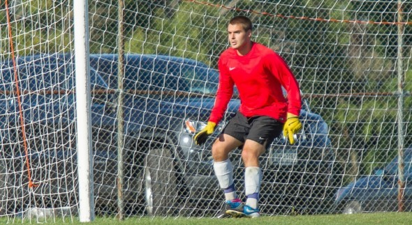 Junior Todd Lawson 's strong play in net has helped the men's soccer team perform well this year.  (Photo provided by Sports Information)