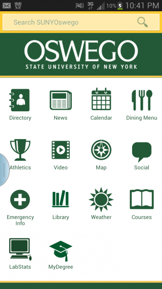 The SUNY Oswego app, first launched in 2011,gives students access to multiple important features.