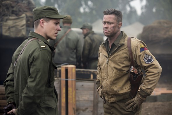 Brad Pitt's valiant Don teaches Logan Lerman's young Norman harsh lessons about war and violence in World War II Germany.  (Photo provided by boitedufilm.com)