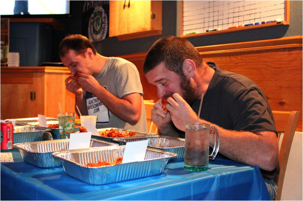 "Eric Enwright (left) and Jason Noel (right) compete in ""Battle of the Bone"" Nov. 13.  (David Armelino 