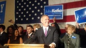 Katko giving his victory speech at the Sheraton Hotel (JoAnn DeLauter)