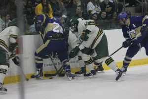 No. 2 Oswego State may have to work harder to grind out a victory over visiting Nazareth College on Saturday night (Justine Polonski | The Oswegonian).