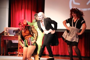 "Jesse Lessner and the cast of ""The Rocky Horror Show"" spooked out Hewitt Union. David Armelino 