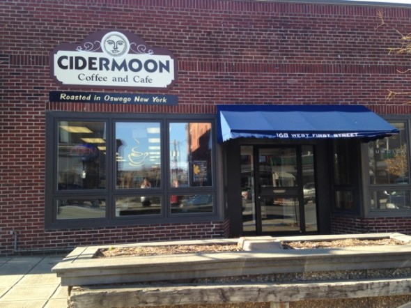Cidermoon Coffee and Cafe, opened in July 2012, lies on West First Street, and offers various products such as coffee, sandwiches and soup. (Laura Mcdorman | The Oswegonian)