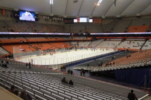 Under 30 minutes until puck drop at Syracuse University's Carrier Dome as No. 2 Oswego State takes on Utica College (Taylor Clock | The Oswegonian).