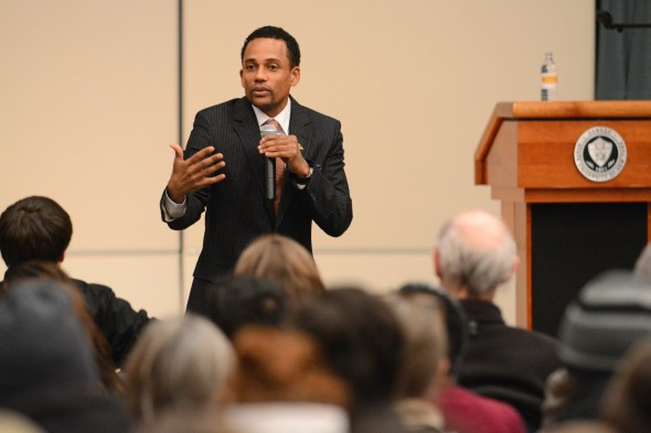 Hill Harper speaks to the crowd in Sheldon Hall and Oswego State students who have pushed for diversity and inclusion this year and also spoke remembering Martin Luther King, Jr..  (Photo provided by the Office of Public Affairs)