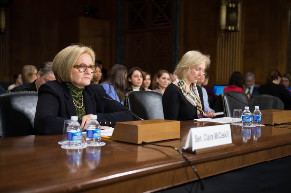 Sen. Claire McCaskill (D-MO) [left]  and Sen. Kirsten Gillibrand (D-NY) [right] present their bill on sexual assault in front of the Judiciary Subcommittee on Crime and Terrorism.  (Photo provided by Claire McCaskill's Office)