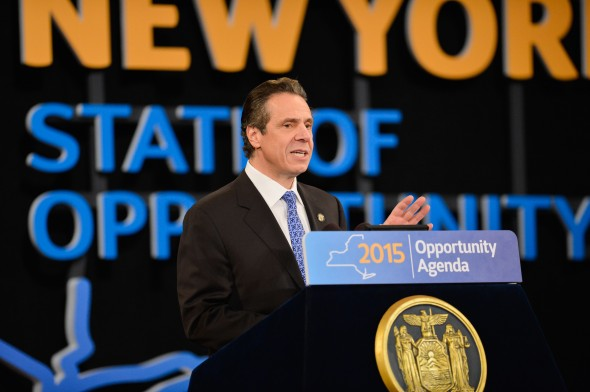Gov. Andrew Cuomo discusses New York state college students at his 2015 State of the State Address.  (Photo provided by the Governor's Office)
