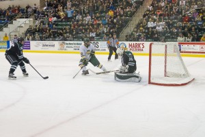 Senior Mike Montagna beats Mustangs' goalie Steven Dombrosky for Oswego State's first goal. On Friday night, Montagna and Mitchell Herlihey, who assisted on this goal, became the fifth and sixth Lakers to eclipse 20 points.