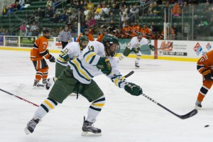 Junior Brandon Adams returned to the Lakers' line up after three games and scored both goals in the 2-0 win over Buffalo State in the SUNYAC semifinals at the Marano Campus Center Arena (Taylor Clock   The Oswegonian).