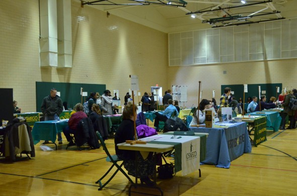 Various Oswego State departments and organizations provide information on work opportunities around the campus. This event is put on by Oswego State Career Services.  (JoAnn DeLauter | The Oswegonian)
