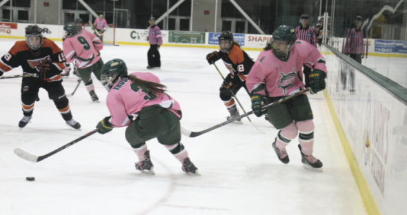 Sophomore Erika Truschke has been one of leaders, on and off the ice, for Oswego State as they have surprised many with their great play this season.  (Seamus Lyman | The Oswegonian)