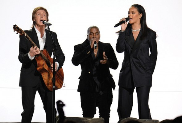 Sir Paul McCartney, Rihanna and Kanye West took to the stage in a night filled with live star-studded collaborations. (Photo provided by grammy.com)
