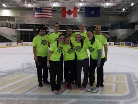 The Crimson Panthers took the broomball Co-Rec title for the second consecutive season this past week.  (Photo provided by Gabriela Santos)