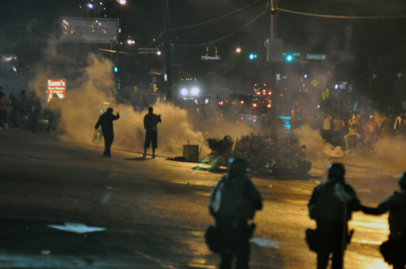 The Ferguson riots were a spectable of violence. (Photo provided by loavesofbread via Wikimedia)