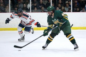 Oswego State sophomore Matt Galati got back on the scoresheet with two goals and an assist in last Saturday's 6-1 win at Hobart College. Galati had not scored Jan. 31 at SUNY Cortland (David Armelino | The Oswegonian).