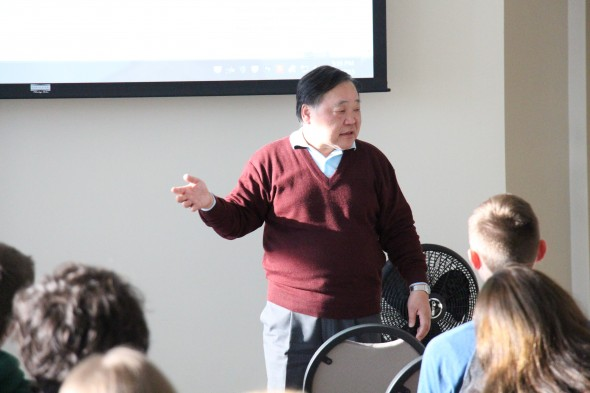 Professor Michio Katsumata addresses students and faculty last Monday on the history of the relationship between the U.S. and Japan over a 160-year period.  (Andrew Pugliese | The Oswegonian)
