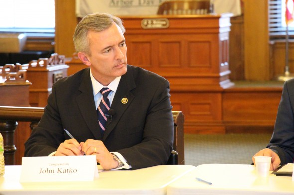 Rep. John Katko stops in Oswego for one of the listening sessions he has held throughout Central New York.  (Peter J. Hanley | The Oswegonian)