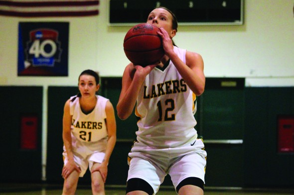 Junior Heather Hebert (12), the leading rebounder this year, thinks the Lakers are in a good spot for next year. (David Armelino | The Oswegonian)