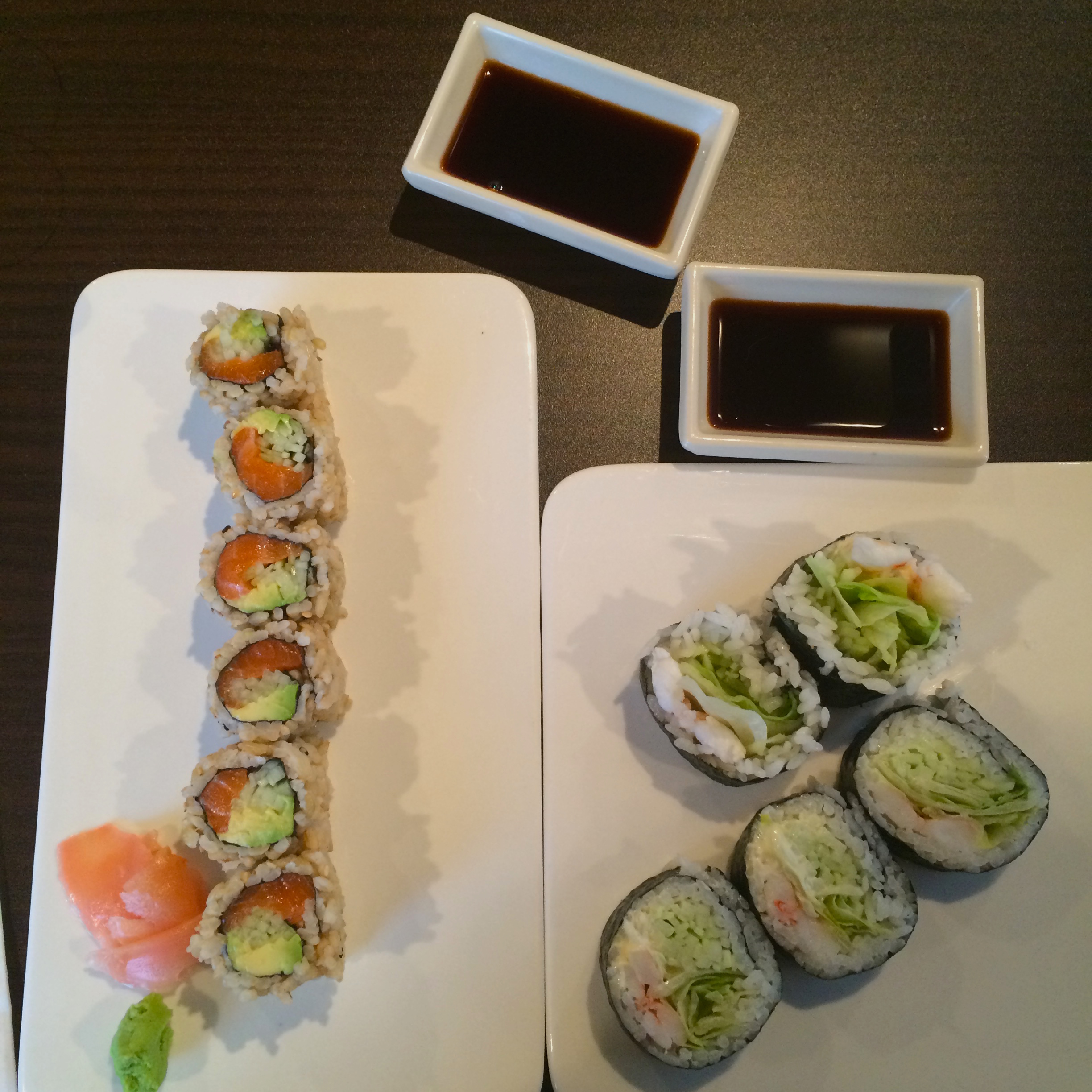 Two types of sushi rolls on display. (Photo provided by Christina Madera)