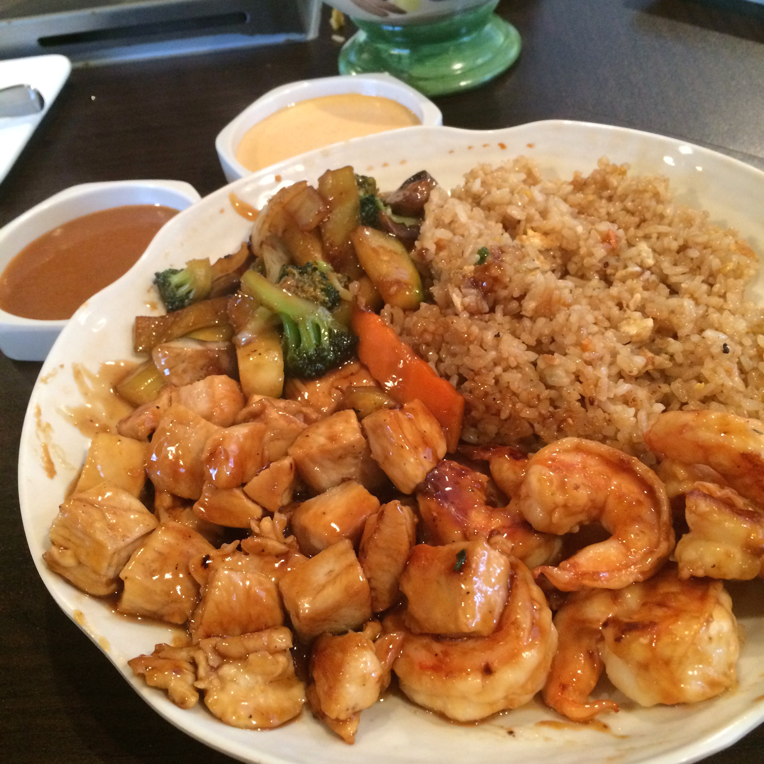 A dish made on the hibachi grill with shrimp and chicken. (Photo provided by Christina Madera)