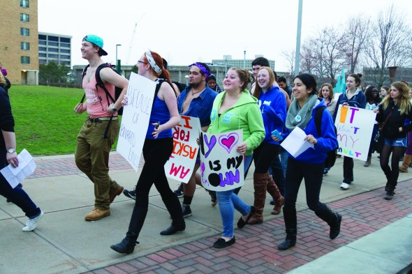 Students marched though campus to raise awareness against victum blaming and slut shaming.  (Taylor Clock | The Oswegonian)