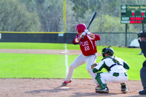 Sophomore first basemen Austin Clock (22) leads the Red Dragons in hits and is 2nd in RBIs (Taylor Clock | The Oswegonian).