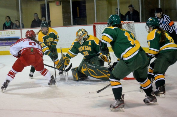 Senior Laker goalie Bridget Smith is a NWHL hopeful. Photo provided by Elmira Athletics