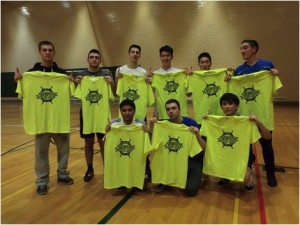 NARP Life poses with its championship T-shirts after winning the men's indoor soccer finals on April 2 (Photo Provided by Gabriela Santos).