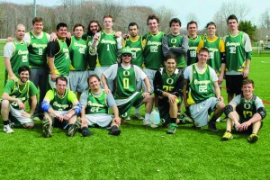 The men's club lacrosse picked up its first regulation win in club history last weekend in Fredonia (Photo provided by Oswego State men's club lacrosse).
