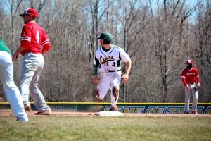 Senior Dan Saccocio paced Oswego State in its 11-4 win over SUNY Fredonia at Laker Baseball Field on Friday (David Armelino | The Oswegonian).