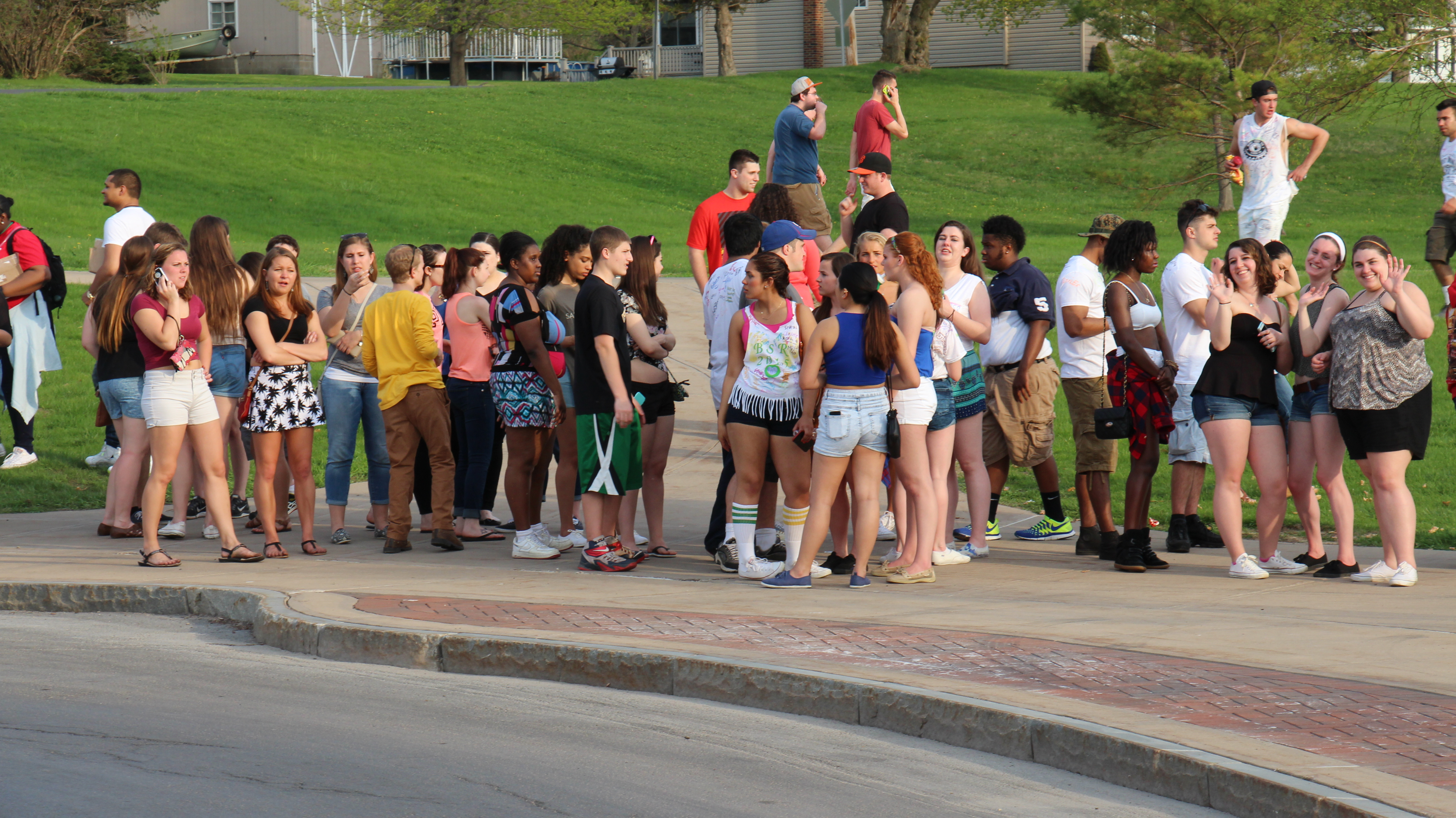 The crowd wrapped around a side entrance of the Marano Campus Center.
