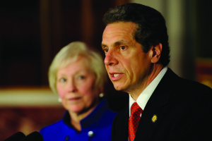 Governor Andrew Cuomo (right) worked with SUNY Chancellor Nancy L. Zimpher  (left) and the SUNY board trustees to develop new diversity policy.  (Photo provided by the Governor's Office)