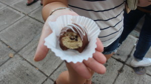 Chocolate covered cookie dough is just one of the delectable items available- selling individually for just $0.50