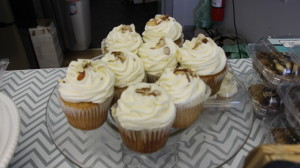 Italian almond cupcakes are one of their daily fixtures  (Arielle Schunk l The Oswegonian)
