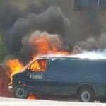 State van unexpectedly catches fire