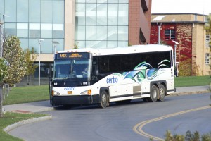 The Centro bus travels from Oswego State Marano Campus Center to Syracuse has increased the fee for students due to a decrease in funding from the Student Association. Instead of a ride free-of-charge, students must pay $2 and present their student I.D. card (Alexander Simone | The Oswegonian)