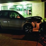 Car hits school property outside Cayuga Hall