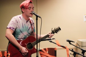 Liam Taylor keeps Open Mic Night entertaining drawing inspiration from punk bands like Blink-182 and All Time Low.  Photo provided by Alison Flanagan