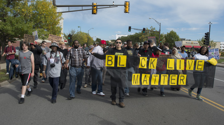 Demonstrations like the Black Lives Matter and Blue Lives Matter movements erupted throughout the nation over recent police brutality against minorities. (Photo provided by Fibonacci Blue via  Wikipedia)
