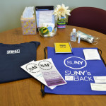 Comfort bags filled for victims donated by SUNY schools to support abuse victims