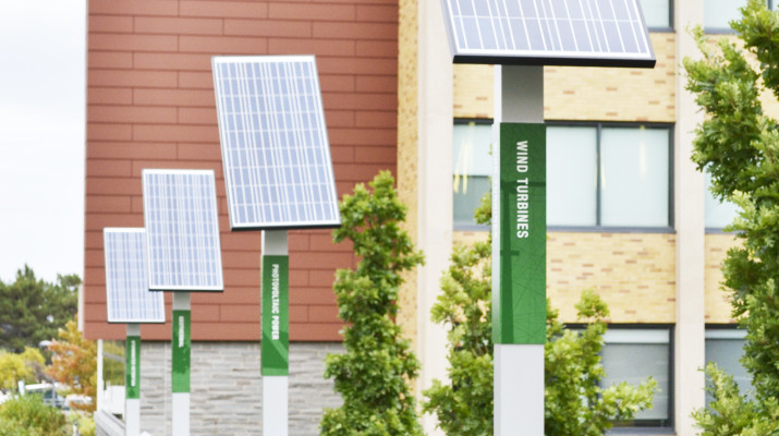 Oswego State's Shineman Center has some of the most environmentally friendly features on campus.  Photo by Taylor Woods