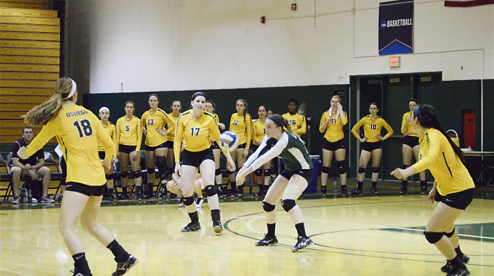 Oswego State's volleyball team will try to correct their recent slide in SUNYAC pool play with home court advantage. (Criselda Mapoy | The Oswegonian)