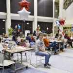 Students attend election party during long wait